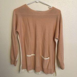peach color block sweater